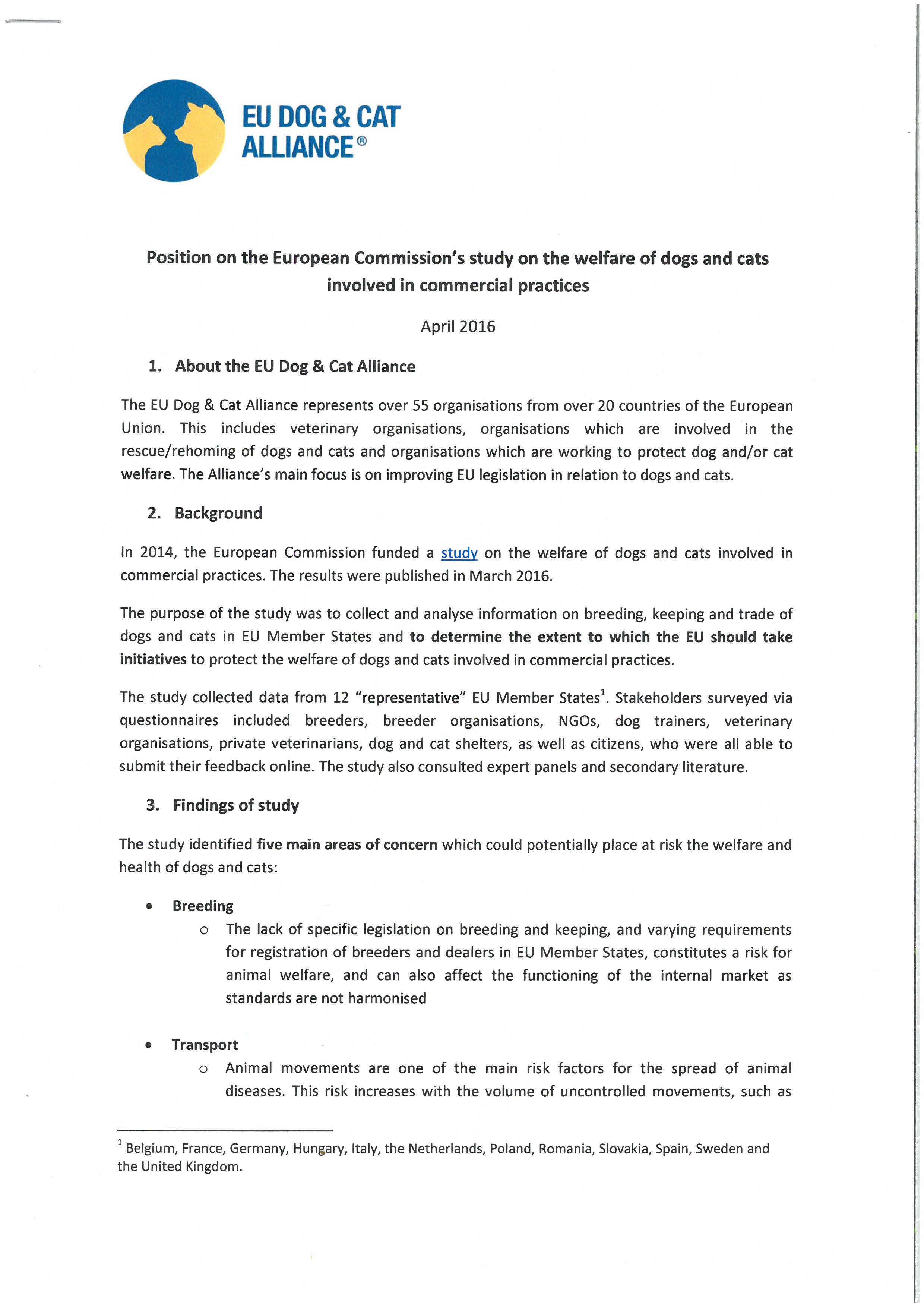Position paper on the European Commission's study on the welfare of dogs and cats involved in commercial practices