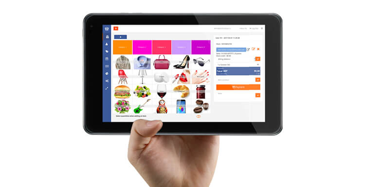 Hiboutik EPOS software on a tablet