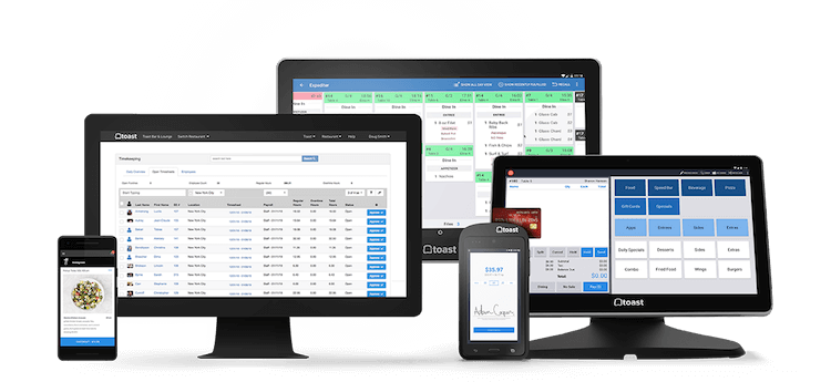 Toast CRM POS interface on multiple devices