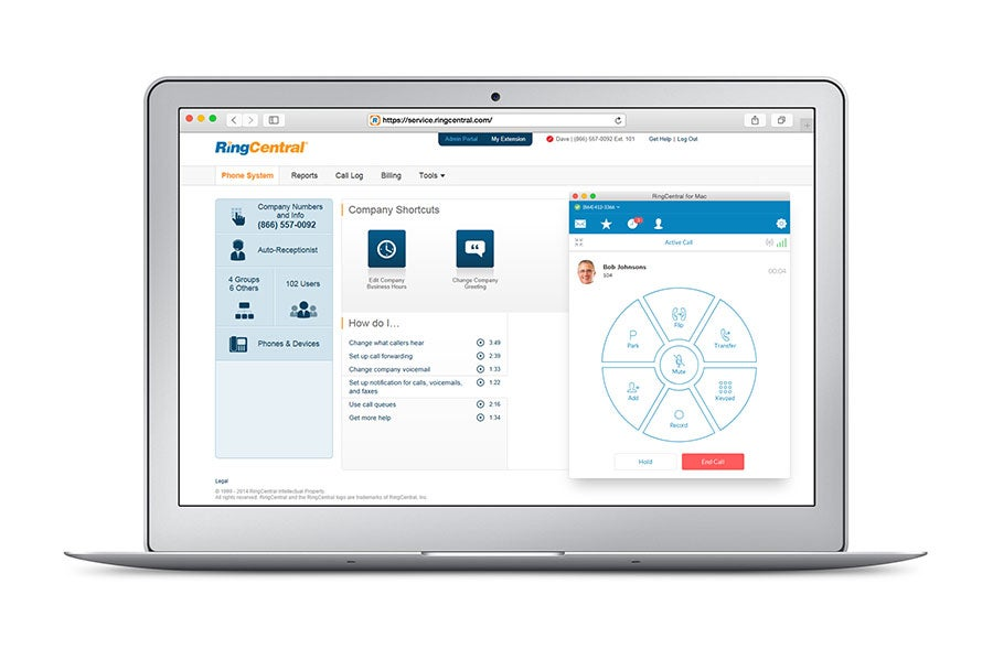 RingCentral Office software on a laptop