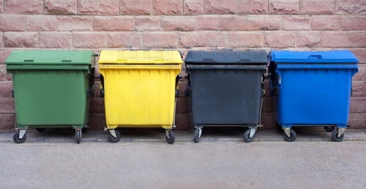 Assortment of coloured waste bins