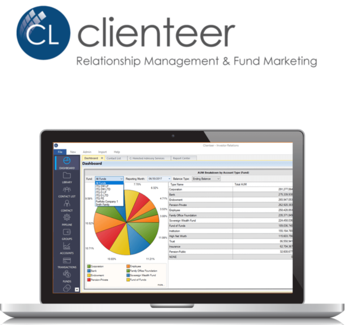 Clienteer logo and interface