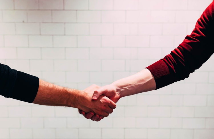 Suppliers shaking hands