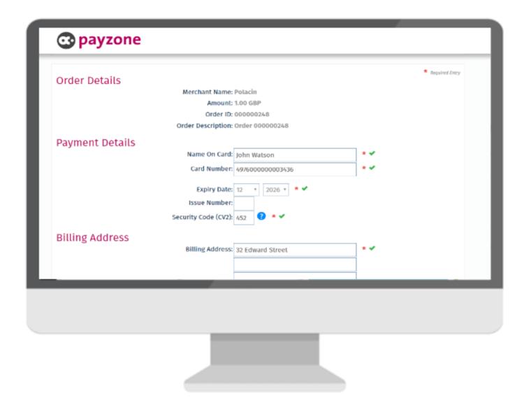 payzone payment gateway on a desktop