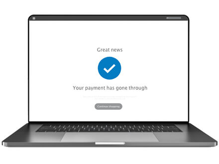 Payment confirmation on laptop