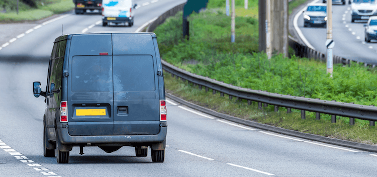 Van driving down a motorway