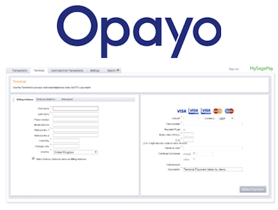 Opayo virtual terminal logo and interface