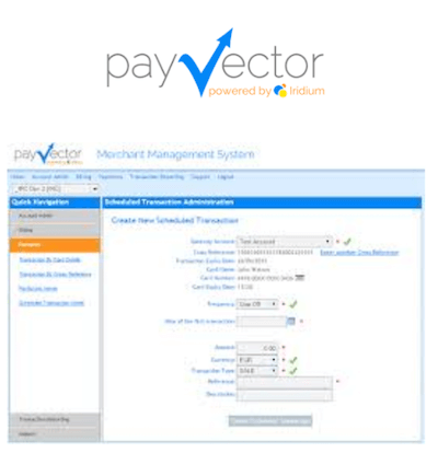 PayVector virtual terminal logo and interface