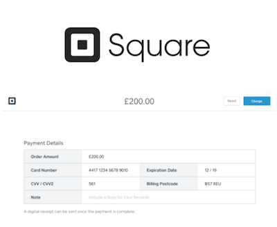 Square virtual terminal logo and interface