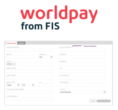 Worldpay virtual terminal logo and interface