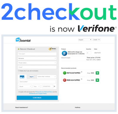 2Checkout logo and payment gateway interface