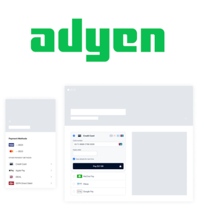 Adyen logo and payment gateway interface