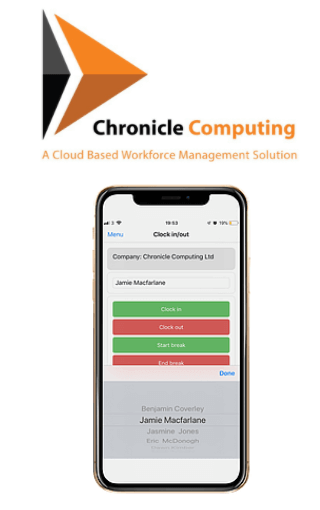 Chronicle logo and clocking-in system