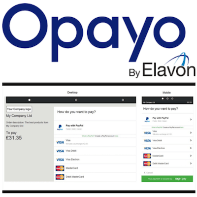 Opayo logo and payment gateway interface
