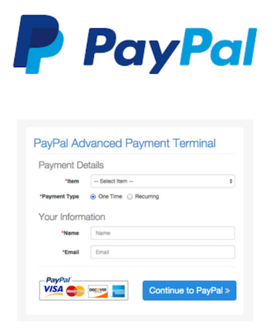 PayPal logo and payment gateway interface