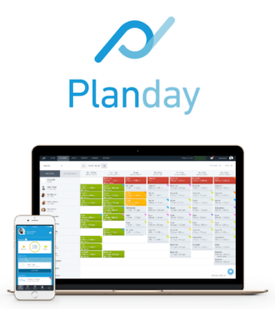 Planday logo and clocking-in system