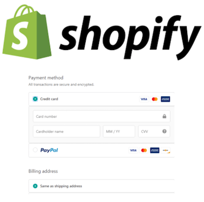 Shopify logo and payment gateway interface