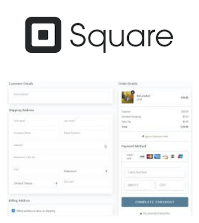Square logo and payment gateway interface