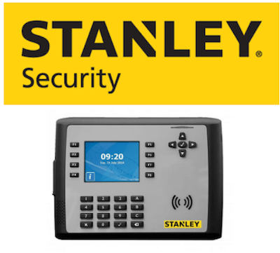 Stanley Security logo and clocking-in system