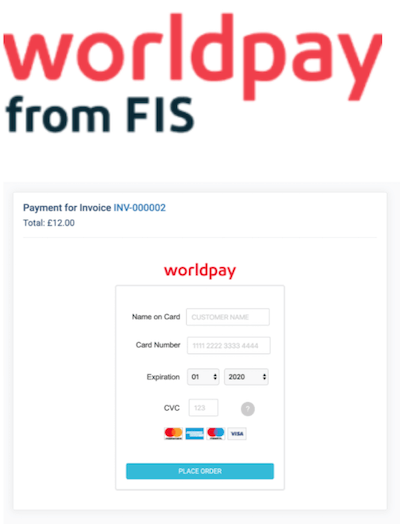Worldpay logo and payment gateway interface