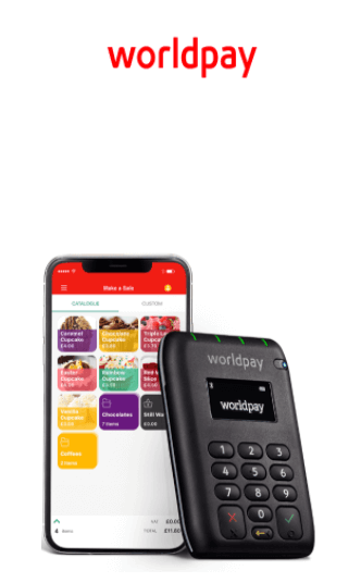 Worldpay mobile card reader and logo