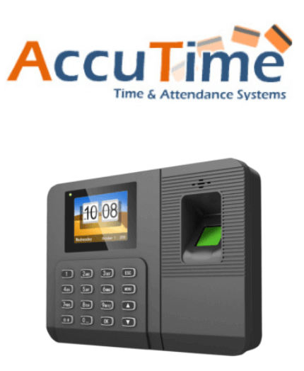 AccuTime logo and fingerprint clocking-in machine