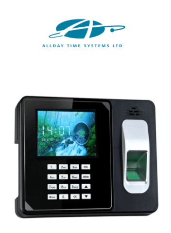 Allday Time Systems logo and fingerprint clocking-in machine