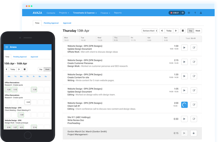Avaza timesheet software interface on mobile and desktop