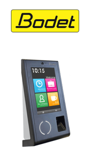 Bodet logo and fingerprint clocking-in machine