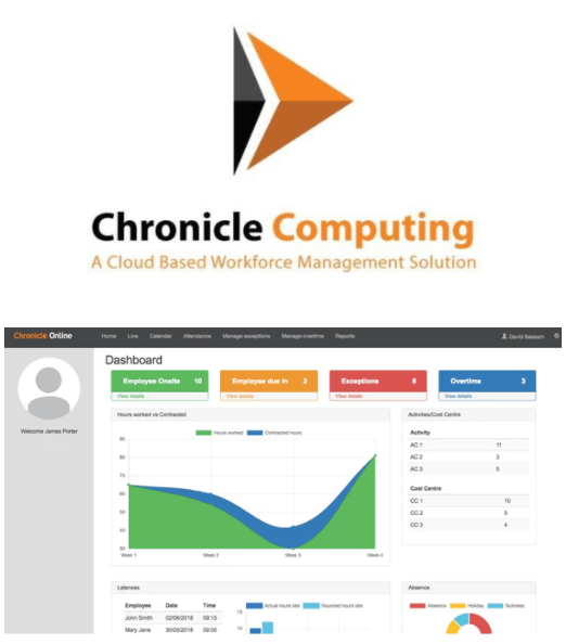 Chronicle Computing logo and time and attendance software interface