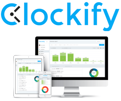 Clockify timesheet software interface and logo