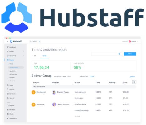 Hubstaff timesheet software interface and logo