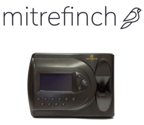Mitrefinch logo and fingerprint clocking-in machine