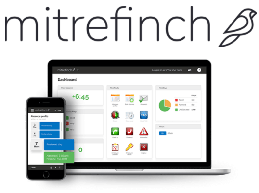 Mitrefinch logo and time and attendance software interface