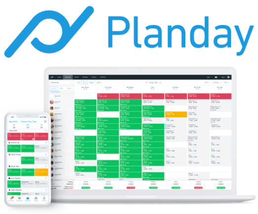 Planday logo and time and attendance software interface