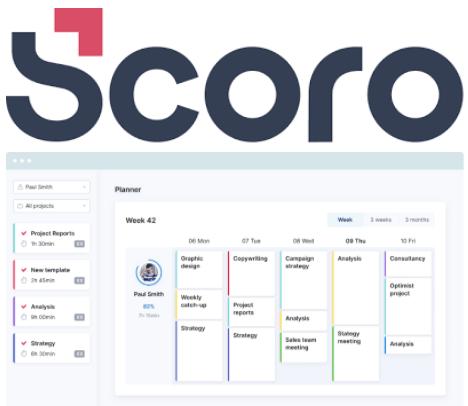 Scoro timesheet software interface and logo