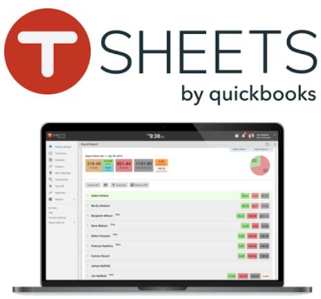 TSheets timesheet software interface and logo