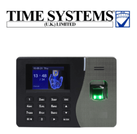Time Systems UK logo and fingerprint clocking-in machine