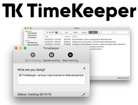 TimeKeeper timesheet software interface and logo