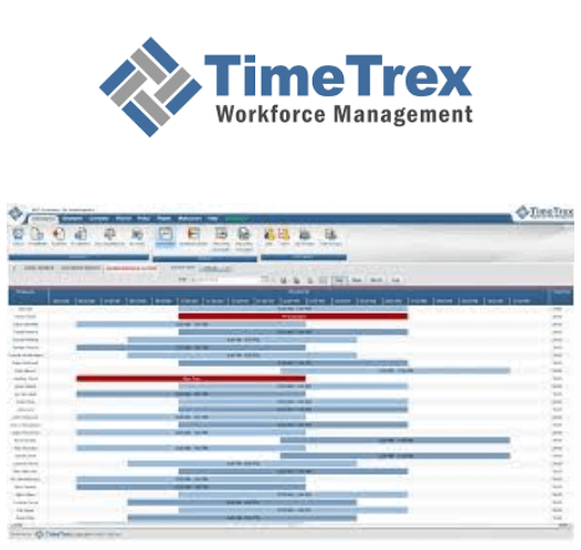 TimeTrex logo and time and attendance software interface