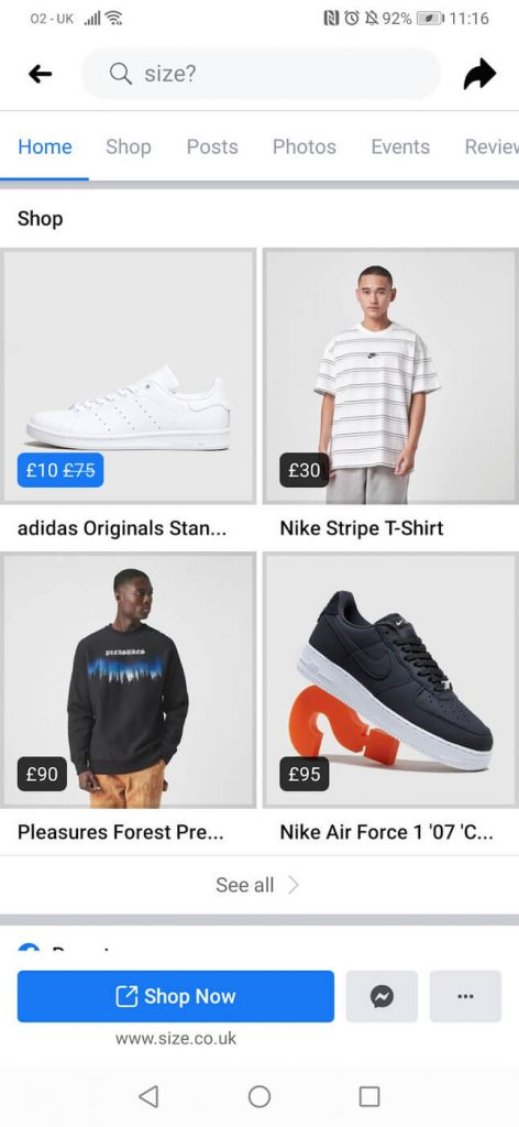 Facebook shop example
