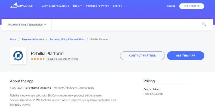 bigcommerce rebillia platform app