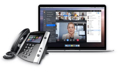 GoToConnect being used on a desk phone and laptop