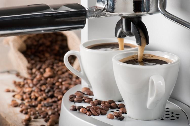 Coffee machine in use