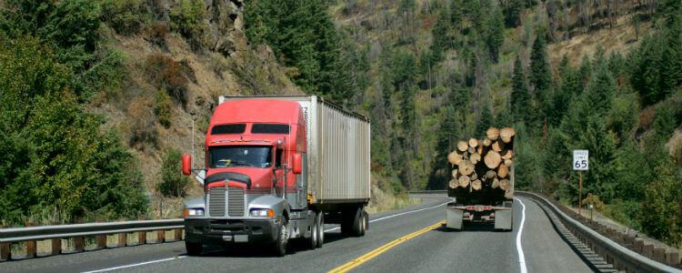 Fleet truck transporting logs