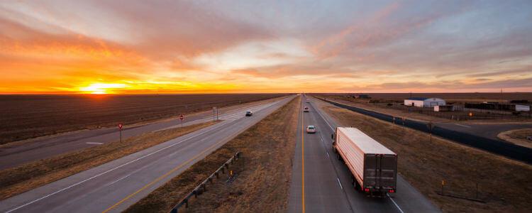 Fleet truck on the road