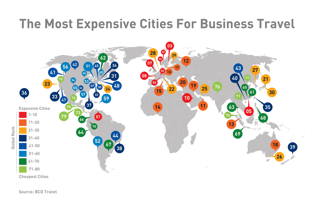 Map of the world's most expensive cities