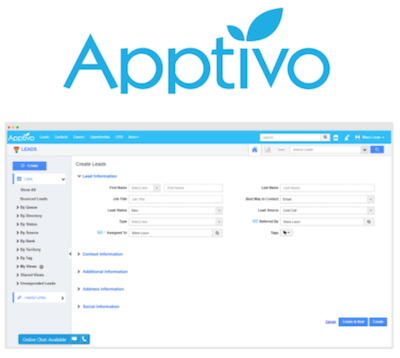 Apptivo CRM logo and interface