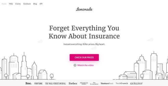 lemonade insurance homepage