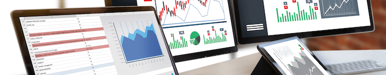 A series of screens displaying analytical dashboards